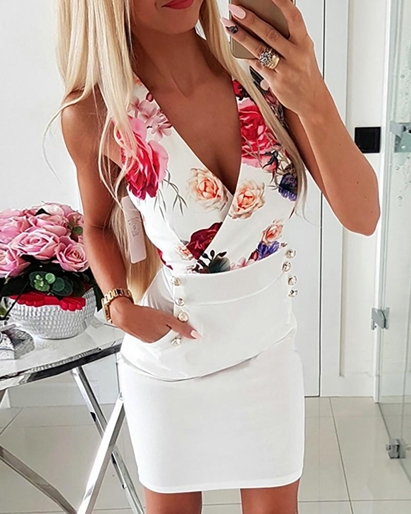 Deep V-Neck Floral Print Sleeveless Bodycon Dress