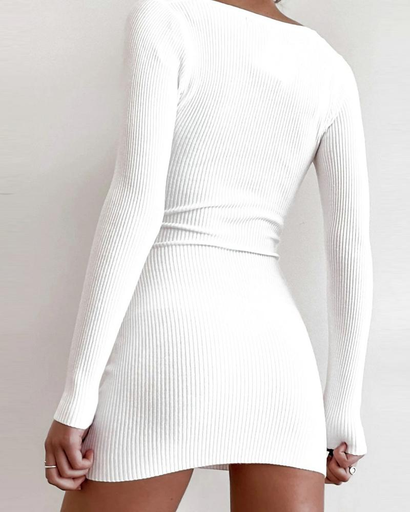 Button Design Solid Long Sleeve Bodycon Dress