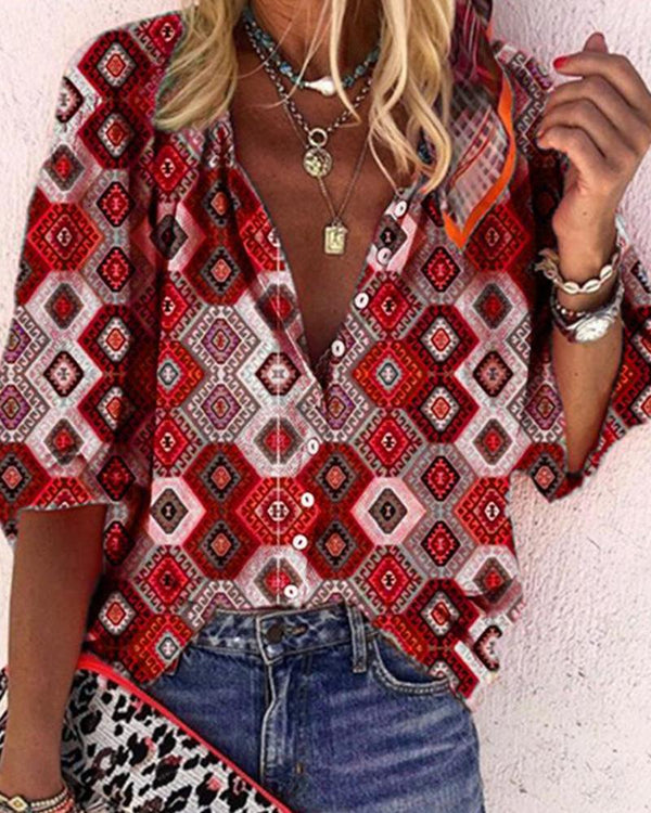 Diamond Print Button Up Shirt