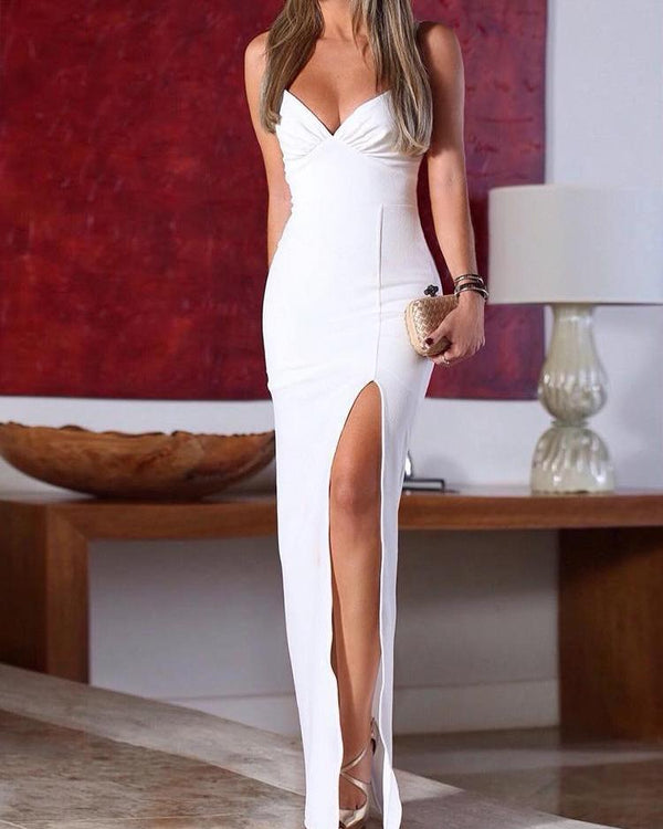 Spaghetti Strap Ruched High Slit Evening Dress