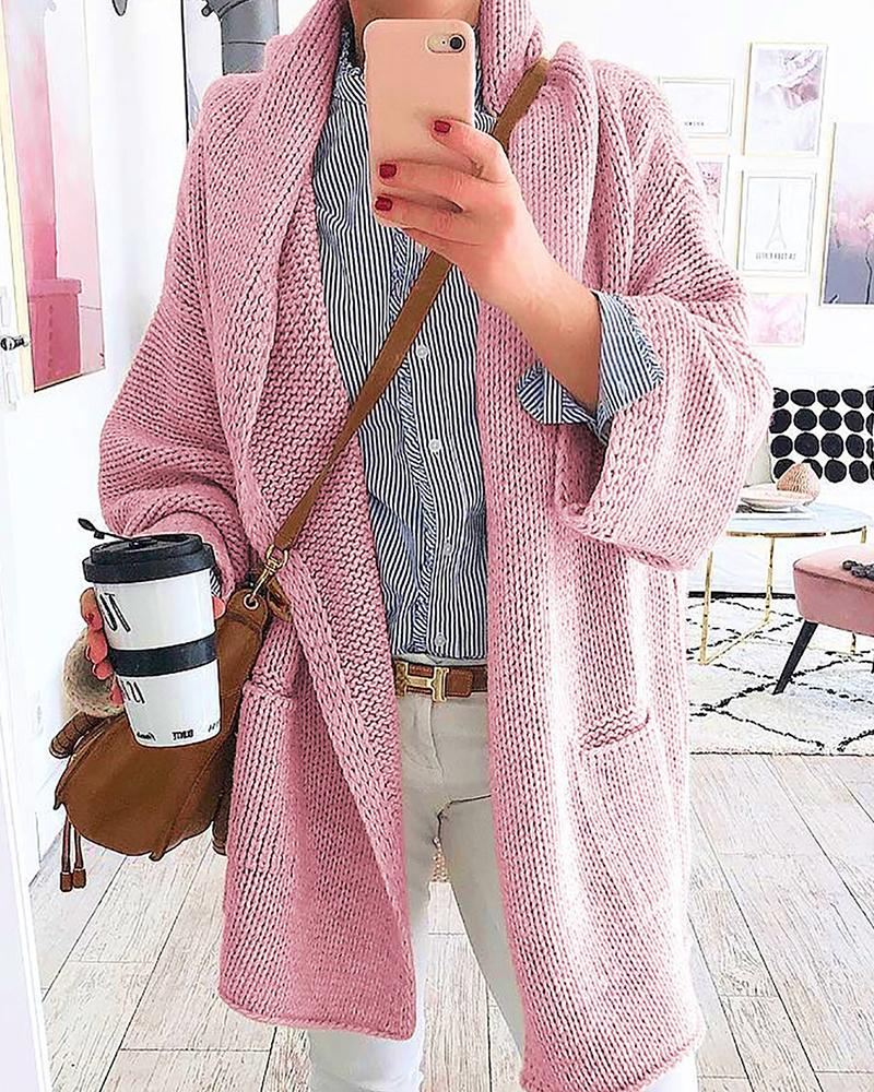Solid Loose-Knitted Overlap Cardigan