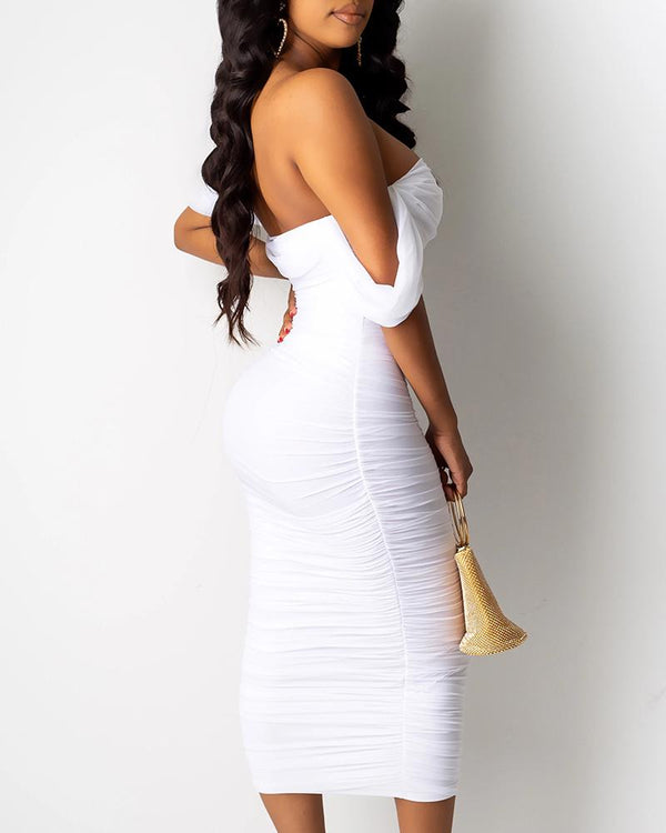 Off Shoulder Ruched Midi Dress