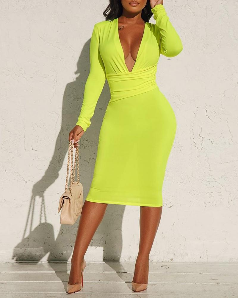 Solid Tight Waist Ruched Bodycon Dress