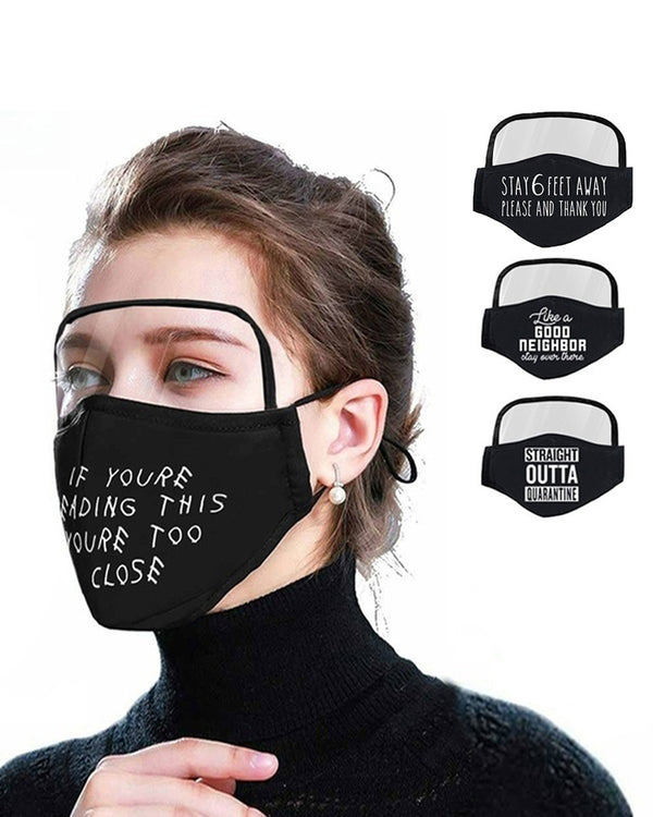 Letter Print Breathable Outdoor Face Protective Face Mask With Eyes Shield