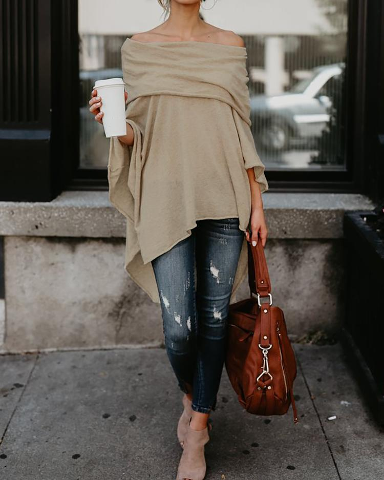 Irregular Off Shoulder Dip Hem Casual Blouse