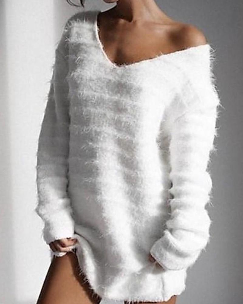 Solid Long Sleeve V Neck Fluffy Sweater