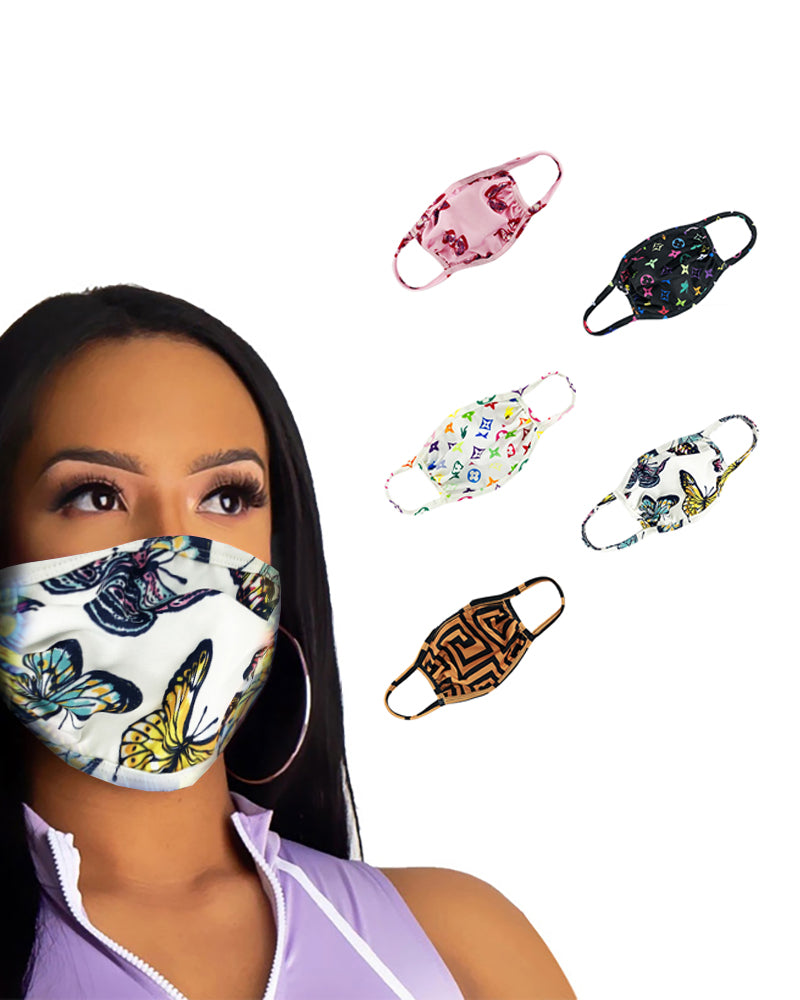 Butterfly / Mixed Print Colorblock Ear Loop Breathable Mouth Mask