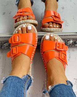 Double Buckled Flat Slipper Sandals