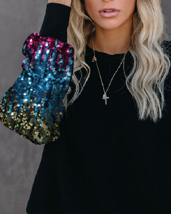 Crew Neck Sequined Sleeve Pullover