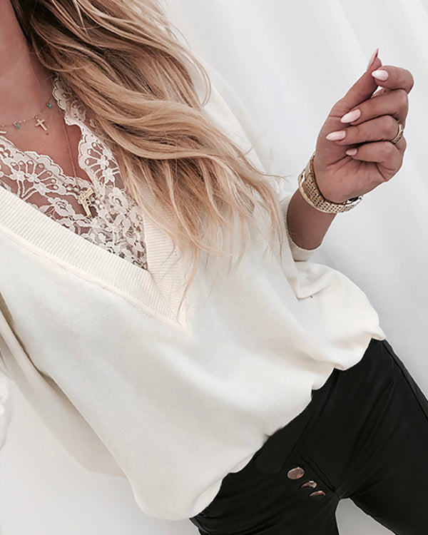 V Neck Lace Insert Long Sleeve Sweatshirt