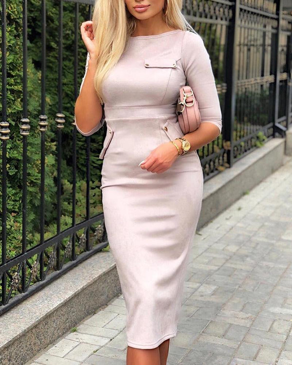 Solid High Waist Pocket Decorate Bodycon Dress