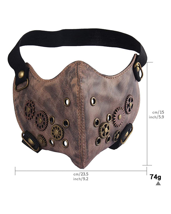 Breathable Gearwheel Punk Leather Motorcycle Biker Face Mask-Brown