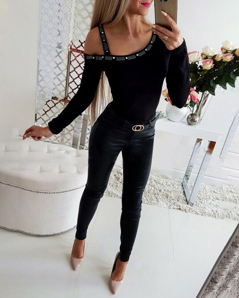 Cold Shoulder Studded Long Sleeve Top