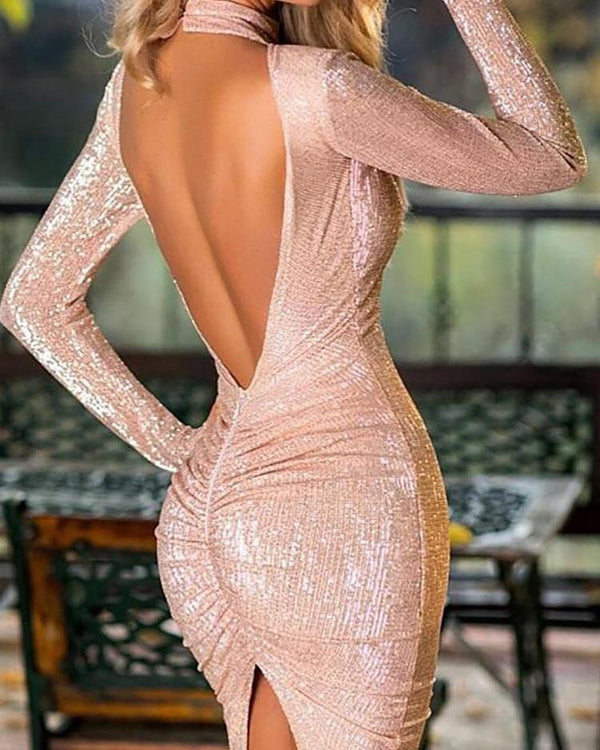 Glitter Open Back Slit Irregular Party Dress