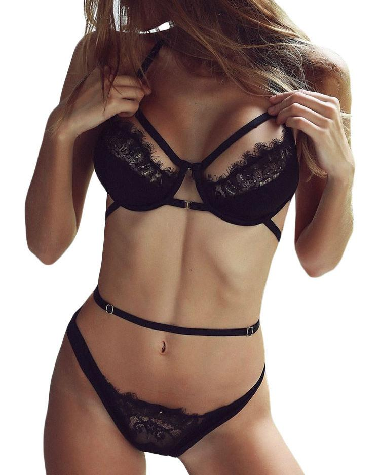 Black Strappy Cutout Bralette and High Waist Thong