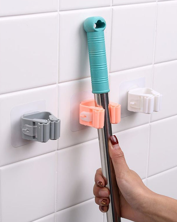 1Pc Mop Broom Holder Wall Mounted Mop Holder Household Adhesive