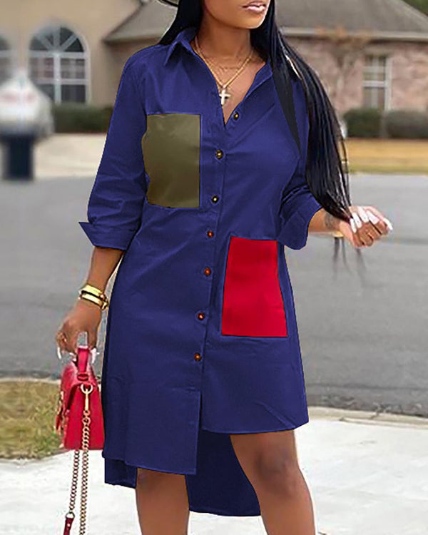 Colorblock Irregular Hem Shirt Dress