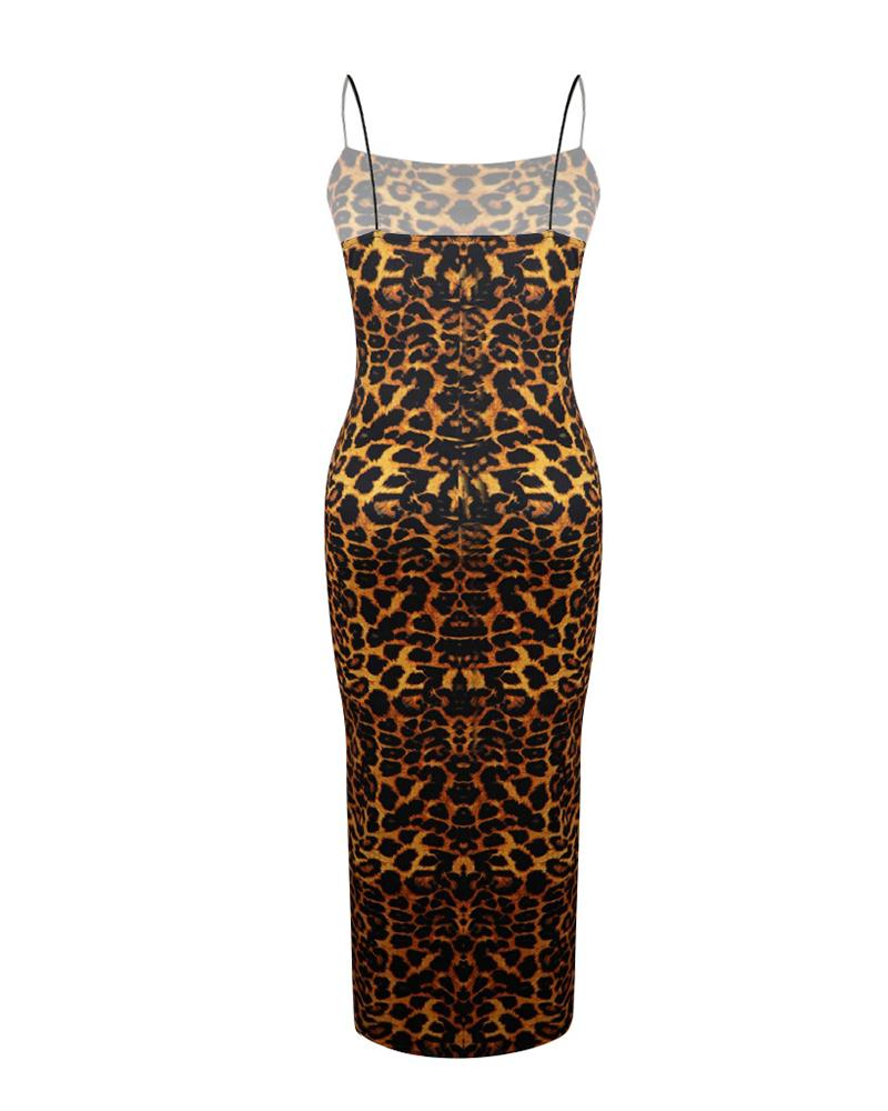 Spaghetti Strap Leopard Print Bodycon Dress