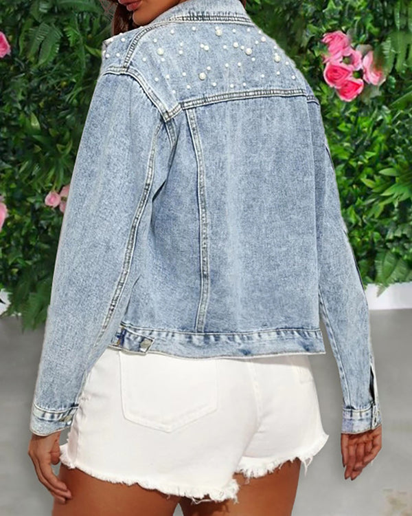Beaded Buttoned Pocket Design Denim Coat