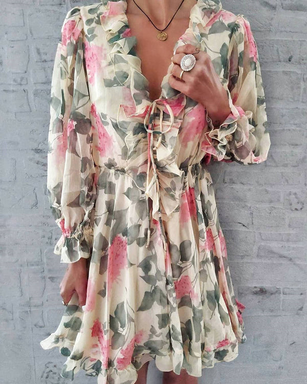Floral Print V-Neck Ruffles Dress