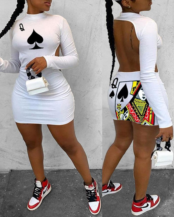 Poker Print Backless Bodycon Dress