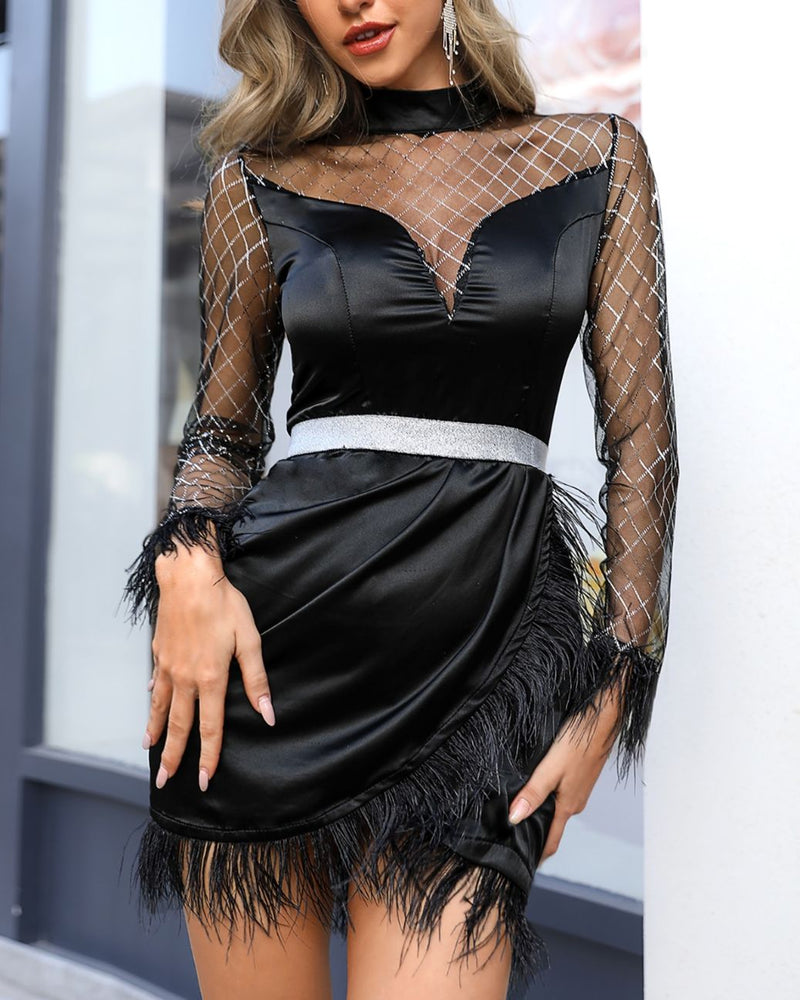 Sheer Mesh Patchwork Fluffy Ruched Party Dress