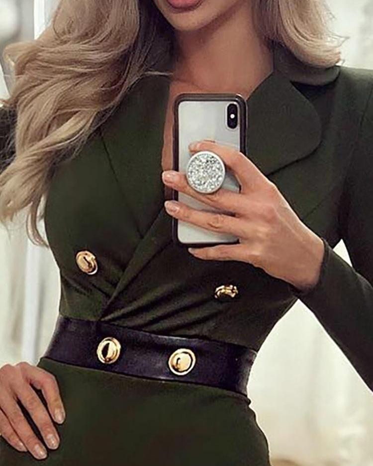 PU Splicing Double Breasted Blazer Dress