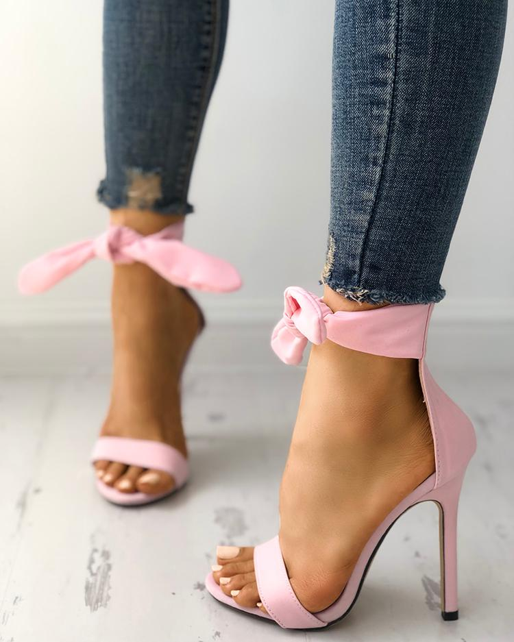 Peep Toe Thick Strap Ankle Tie Stiletto Sandals