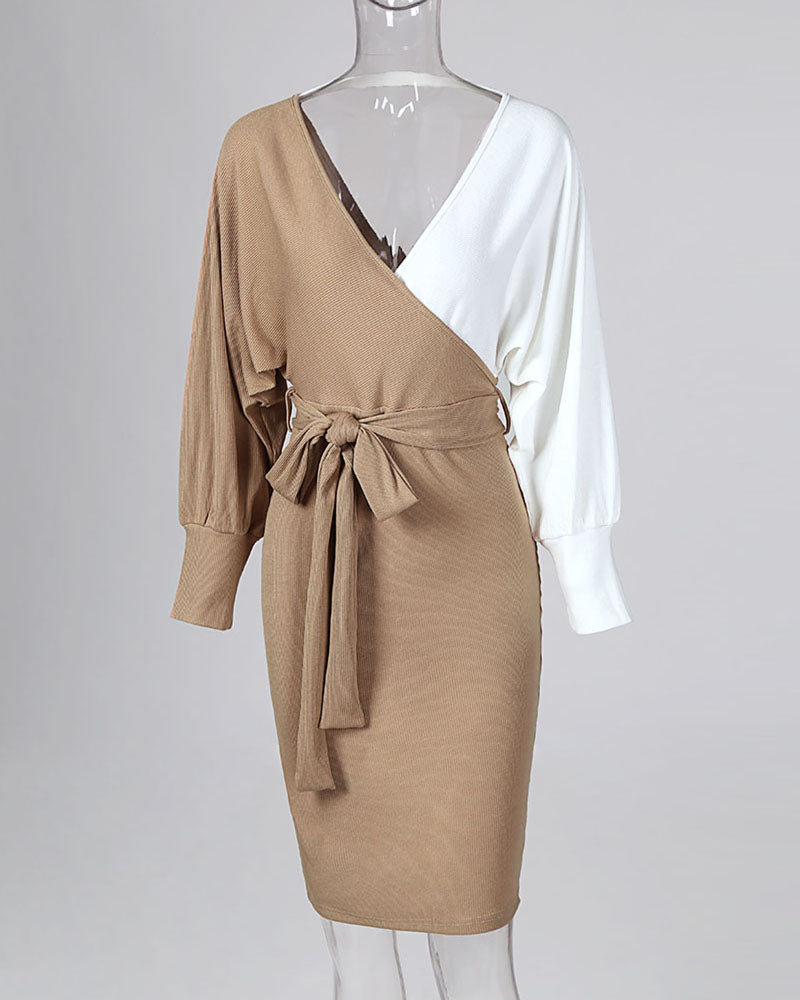 Colorblock Surplice Wrap Batwing Sleeve Ribbed Dress