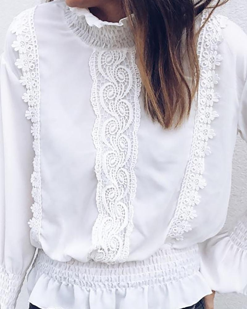 High Neck Lace Insert Ruffles Bell Cuff Blouse