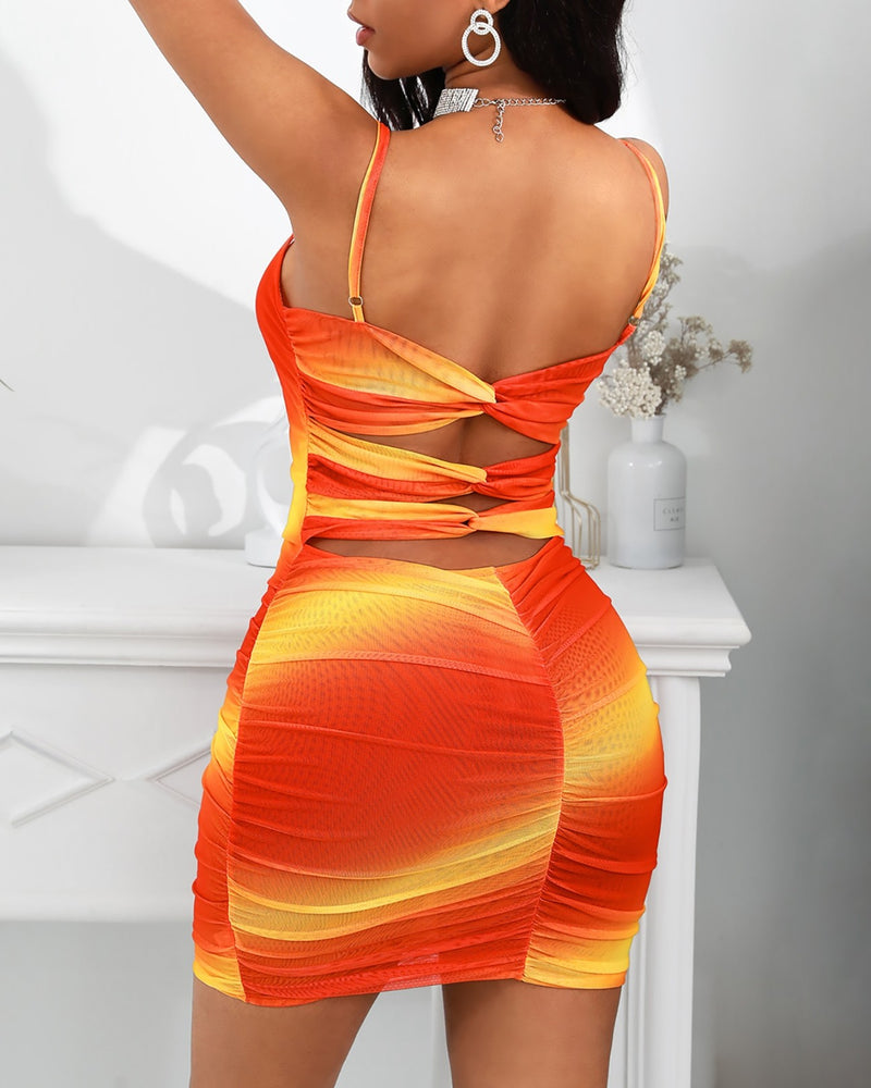 Gradient Color Ruched Cutout Back Bodycon Dress