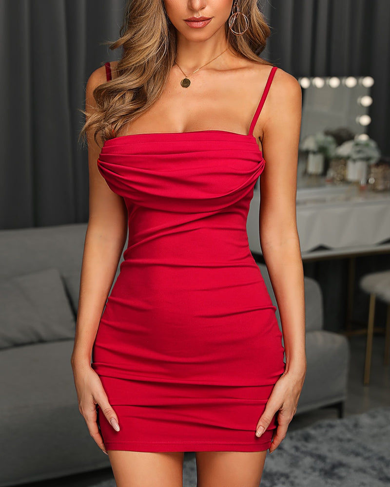 Solid Bodycon Ruched Mini Dress
