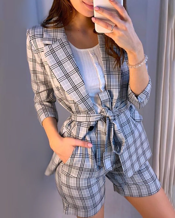 Grid Long Sleeve Blazer Coat & Slinky Short Sets