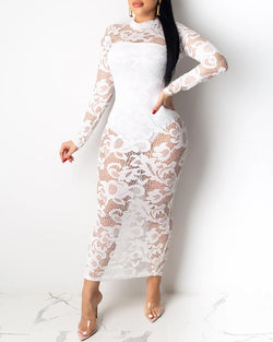 Sheer Mesh Lace Insert Midi Dress With Lining