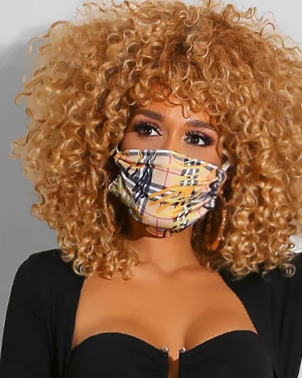 Grid Print Breathable Mouth Mask Washable And Reusable Without Cord Lock Toggles