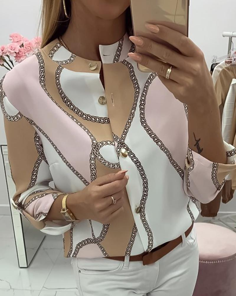 Chains Print Button Design Casual Blouse