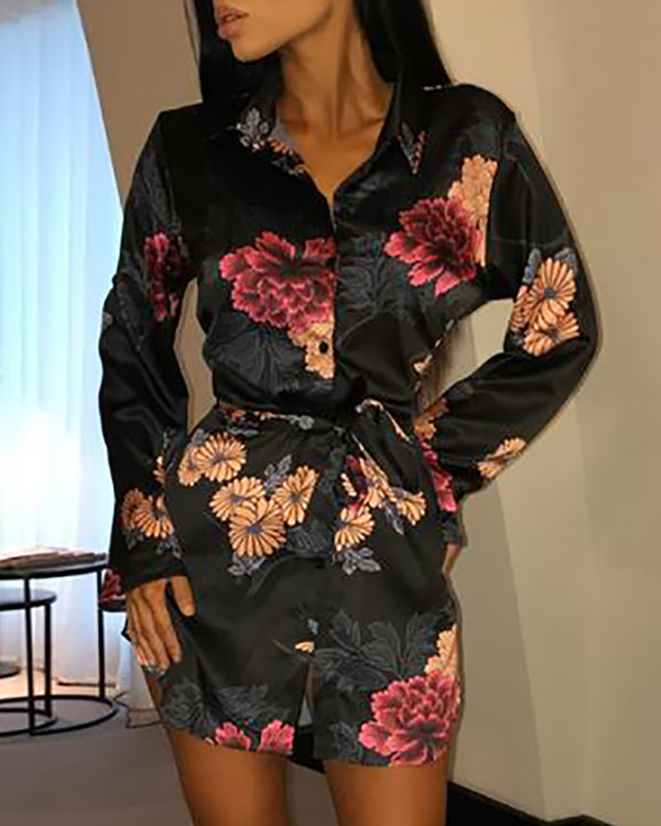 Floral Print Tied Shirt Dress