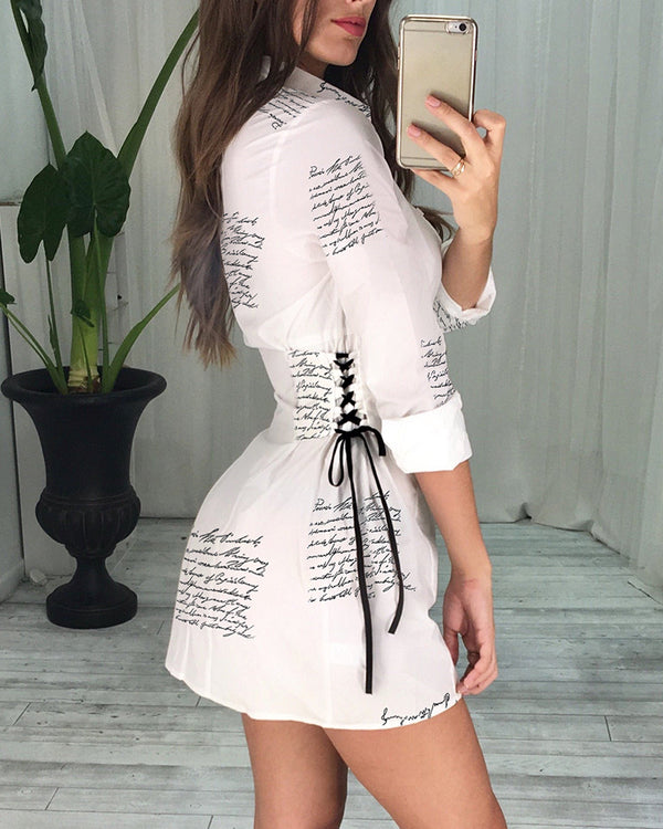 Letter Print Lace-Up Detail Shirt Dress