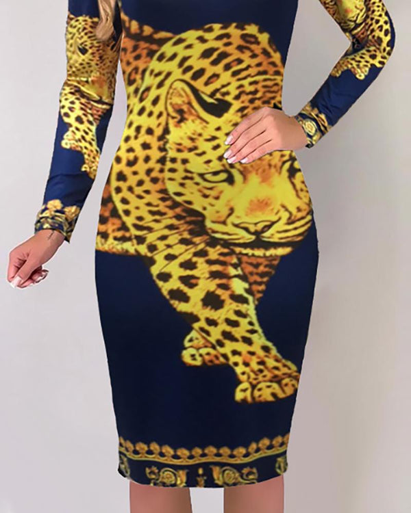 Tiger Print Long Sleeve Midi Dress