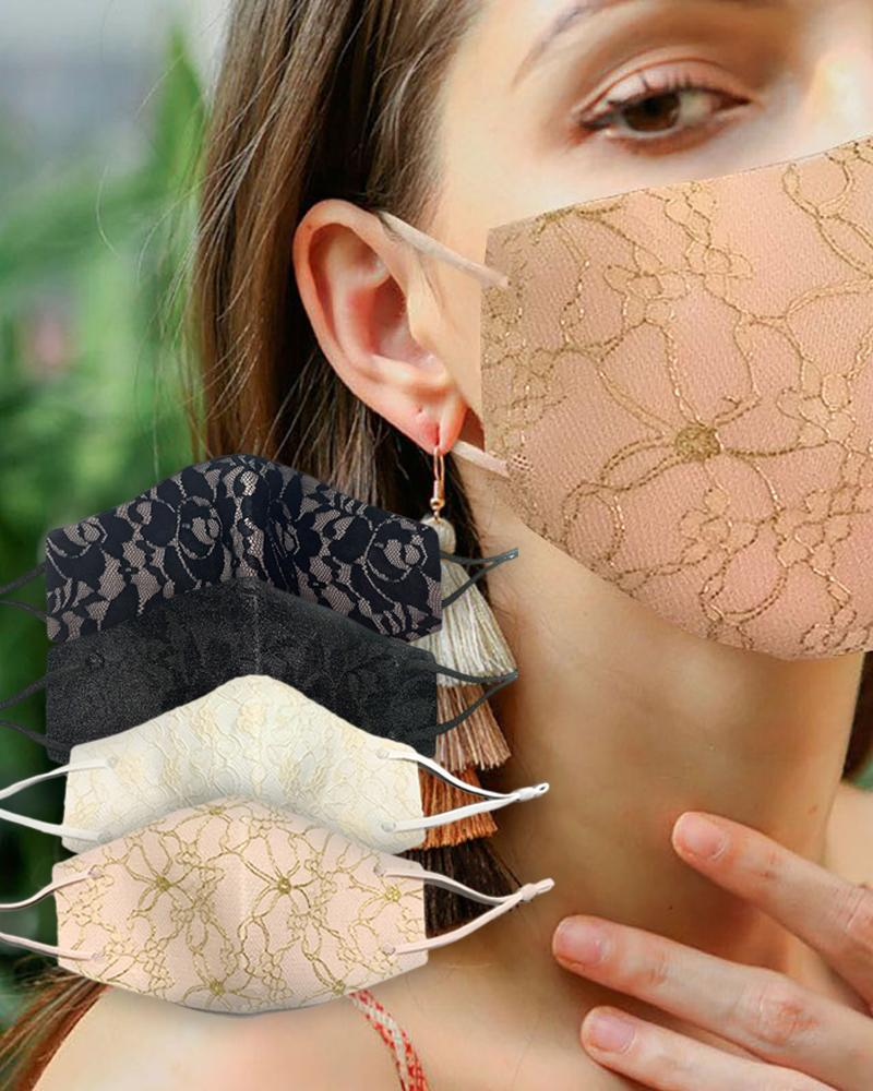 Lace Insert Breathable Ear Loop Mouth Mask Reusable