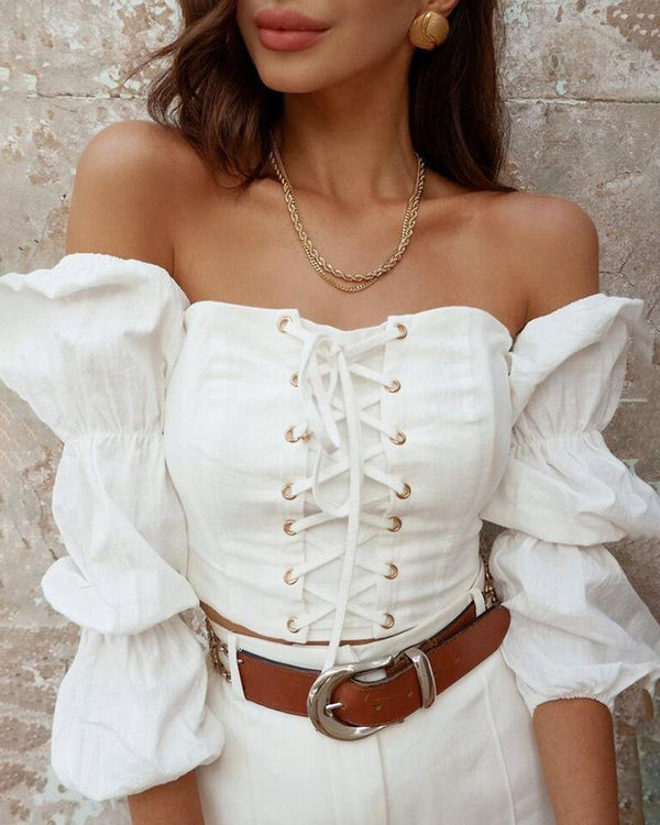Solid Long Sleeve Lace-Up Design Blouse