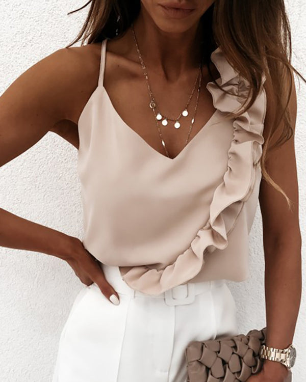 Ruffles Satin Casual Top