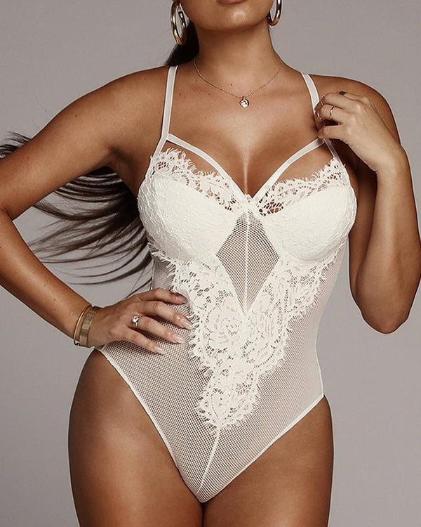 Sheer Eyelash Lace Teddy Bodysuit