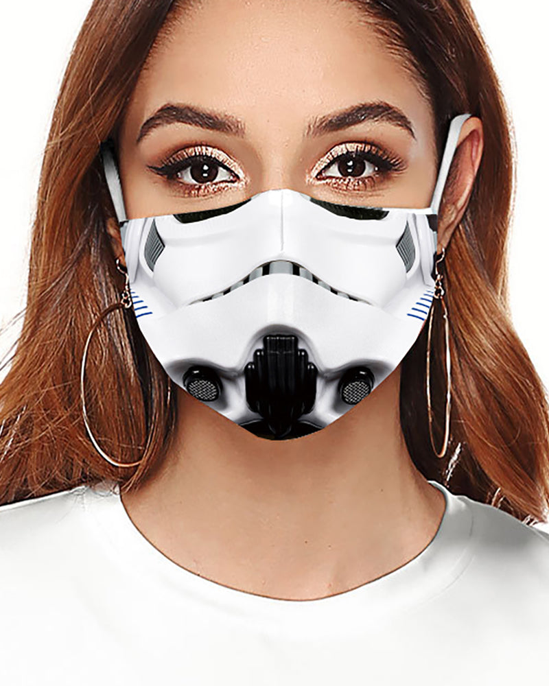 Cartoon Print Colorblock Breathable Face Mask