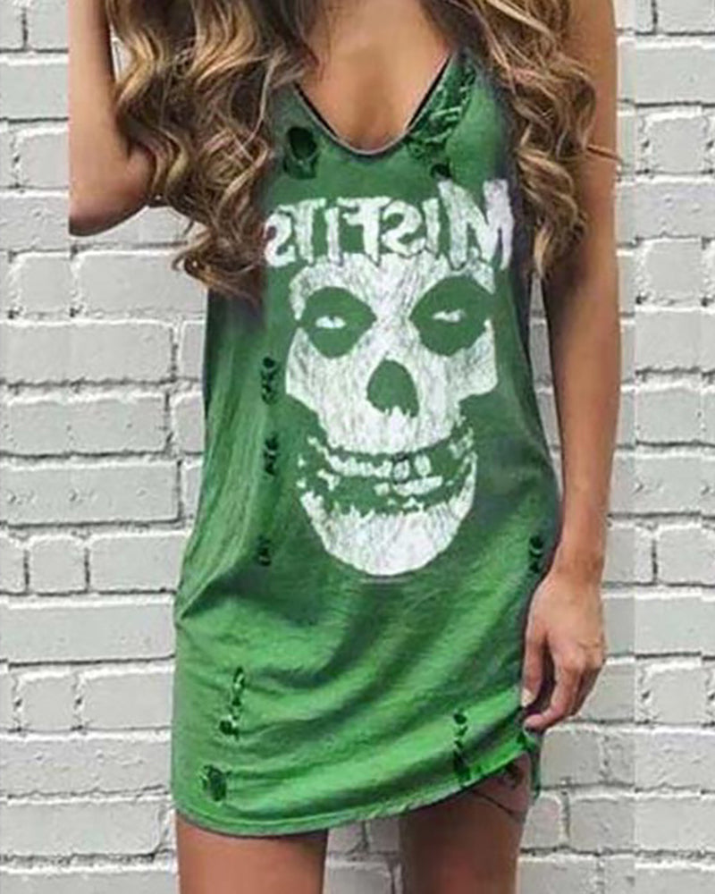 Skull Letter Print Hollow Out Dress