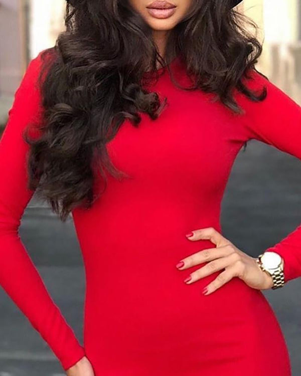 Solid Long Sleeve Slit Bodycon Dress