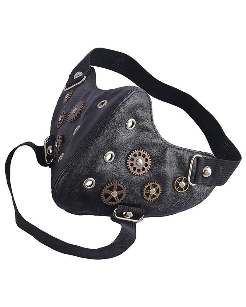 Breathable Gearwheel Punk Leather Motorcycle Biker Cyclin Face Mask