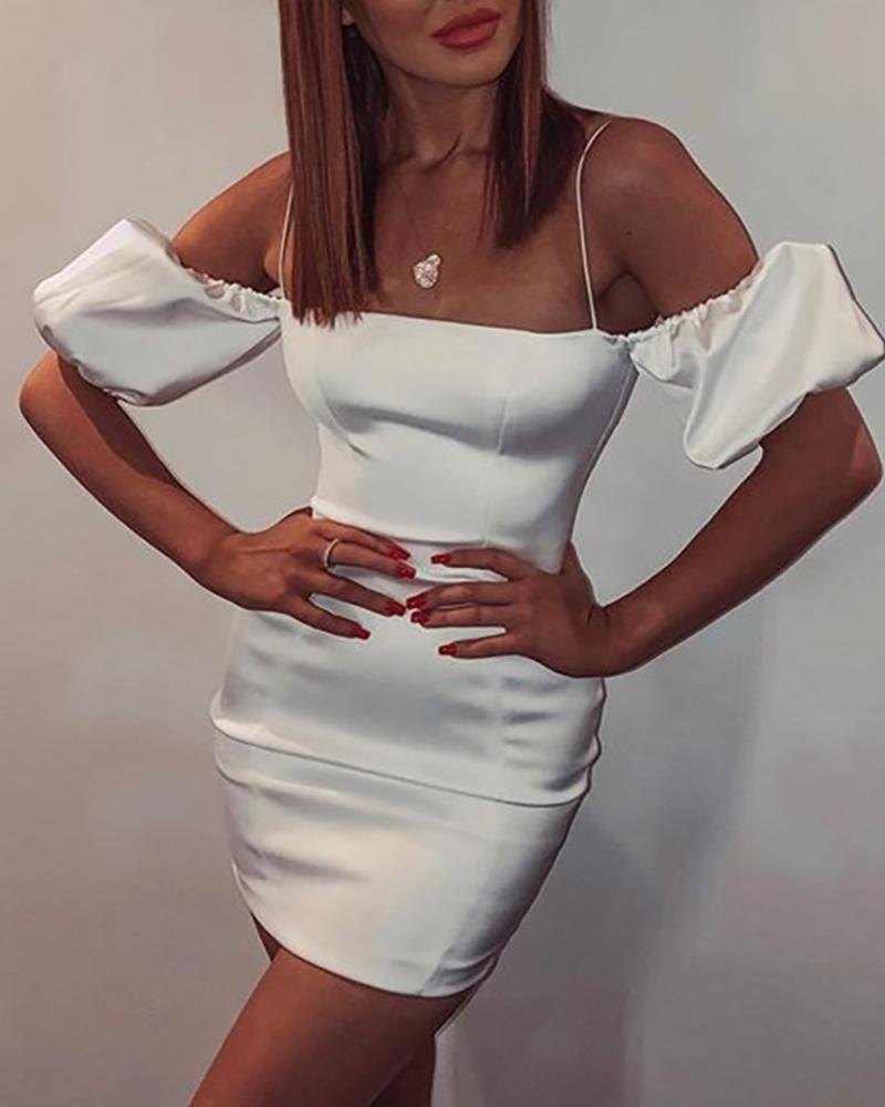 Cold Shoulder Puff Sleeve Satin Bodycon dress