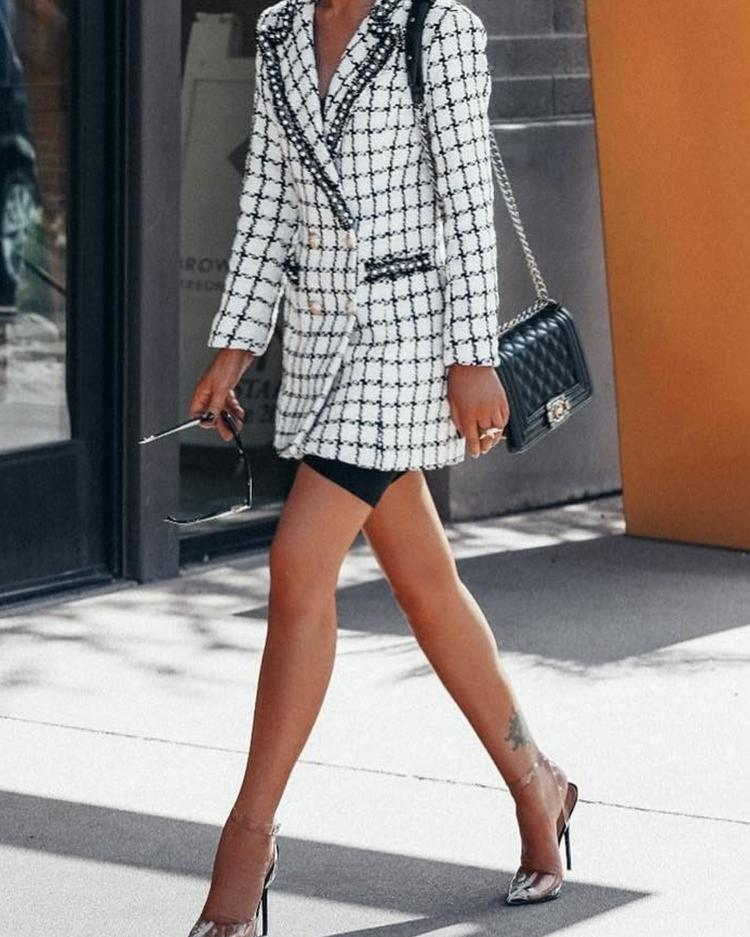 Grid Double-Breasted Blazer Tweed Dress