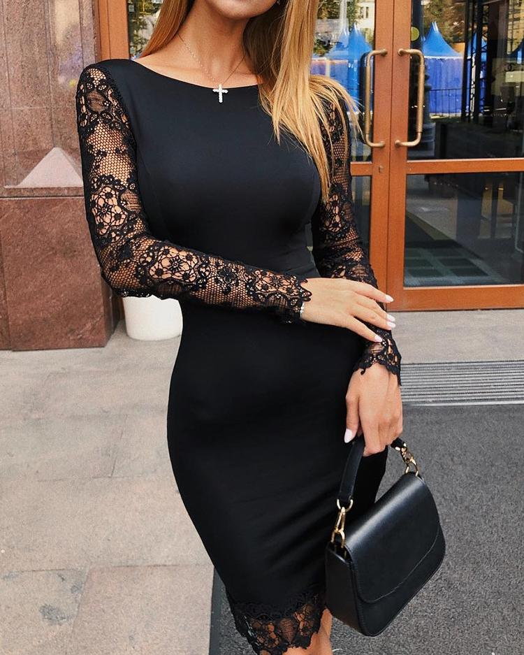 Hollow Out Lace Splicing Bodycon Dress